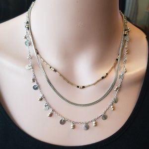 Triple strand dangly adjustable necklace